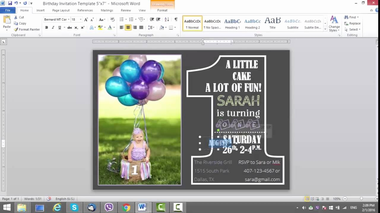 Making Invitations On Microsoft Word Unique 1st Birthday Invitation Template for Ms Word