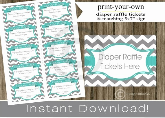 Making Your Own Raffle Tickets Awesome Baby Shower Diaper Raffle Tickets with Matching Sign Teal
