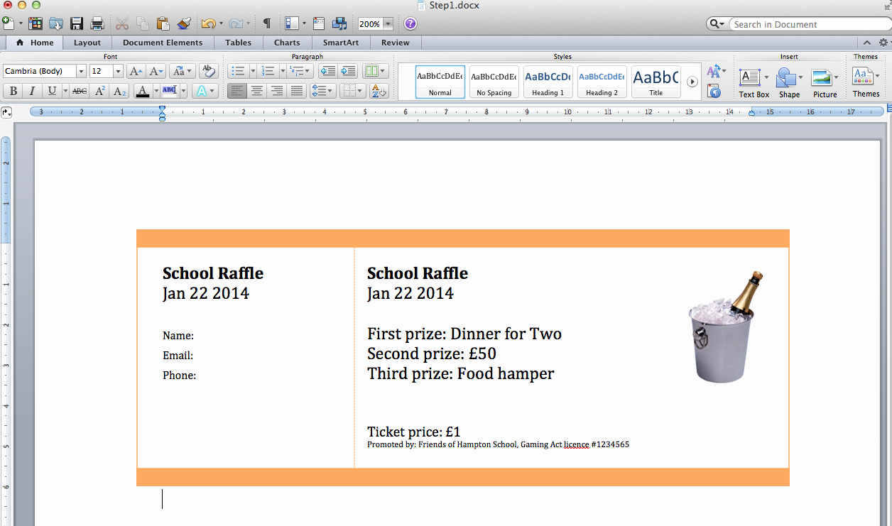 Making Your Own Raffle Tickets Unique Create Numbered Raffle Tickets In Word for Mac 2011