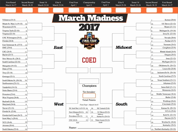 March Madness Bracket Word Document New Printable Ncaa Bracket 2017 March Madness tournament Pdf