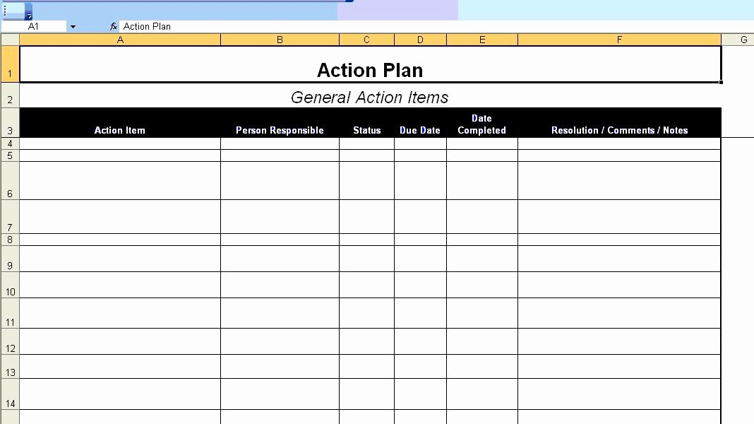 excellent action plan template example in ms excel format with table and general action items
