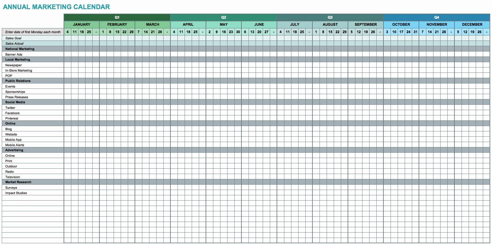 Marketing Calendar Template Excel 2015 Beautiful Marketing Calendar Excel Template 2015