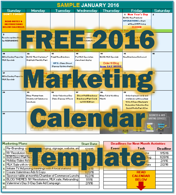 Marketing Calendar Template Excel 2015 Best Of Free 2016 Marketing Calendar Template • Say More Services