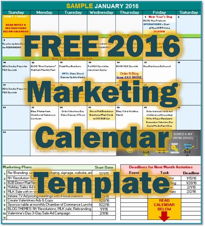 Marketing Calendar Template Excel 2015 Best Of Free 2016 Marketing Calendar Template • Say More Services