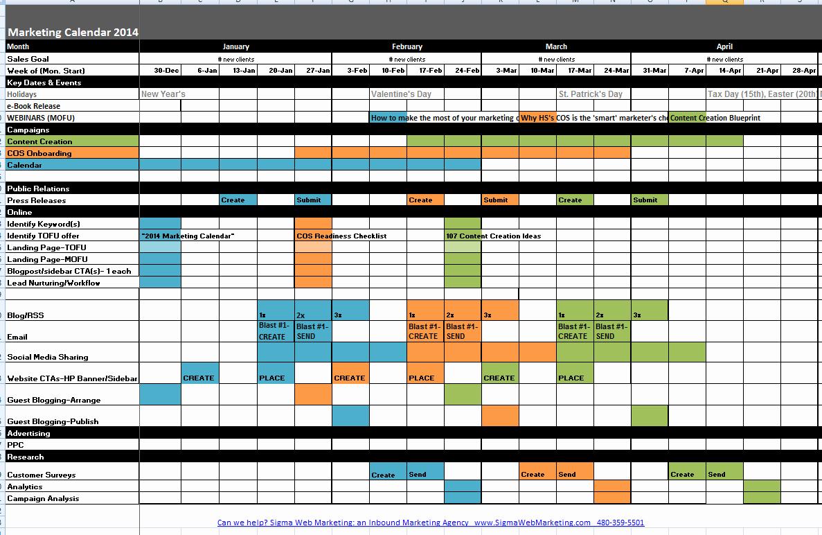 Marketing Calendar Template Excel 2015 Best Of Marketing Calendar Template