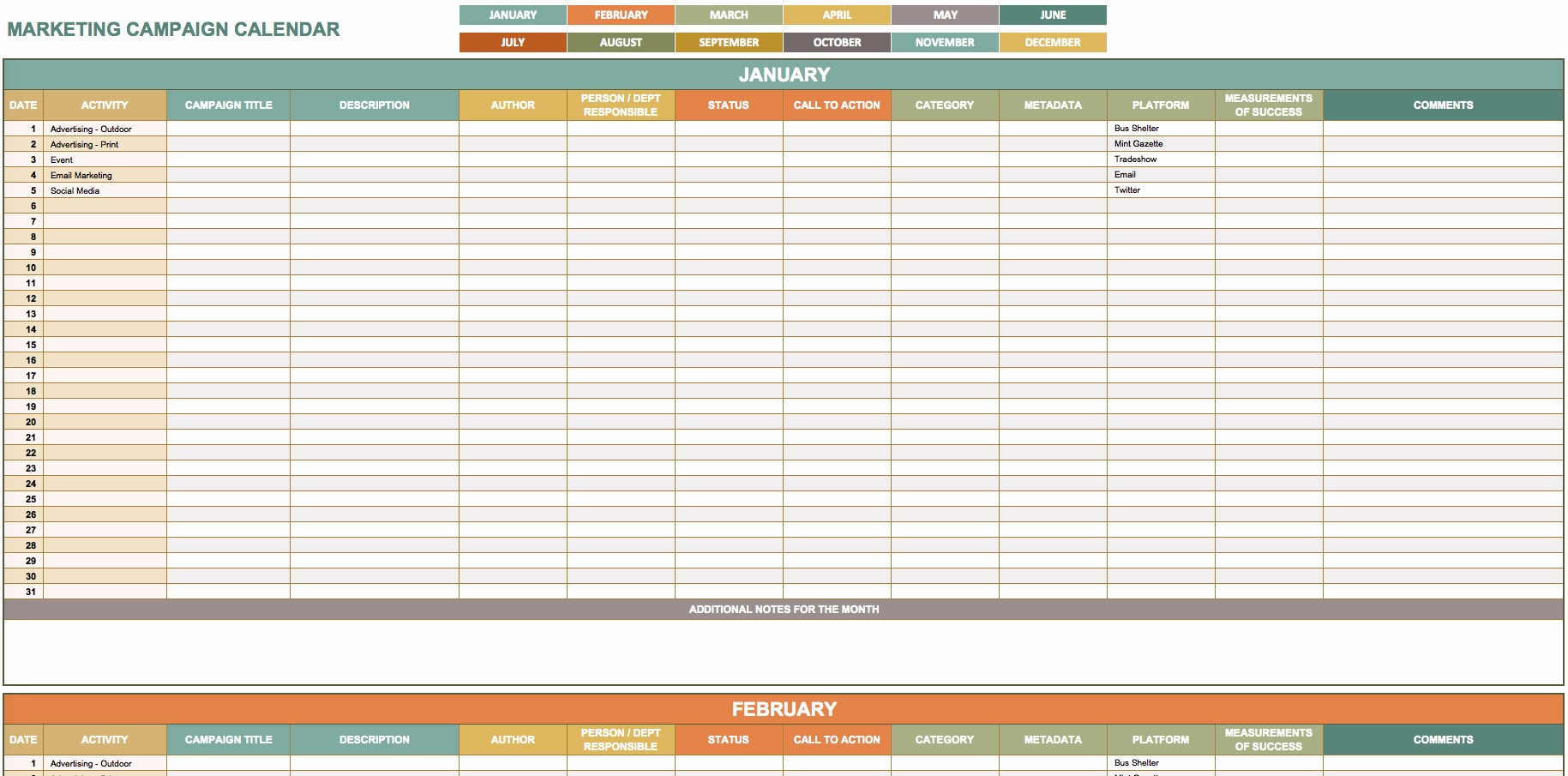 Marketing Calendar Template Excel 2015 Elegant 9 Free Marketing Calendar Templates for Excel Smartsheet
