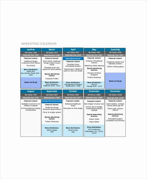 Marketing Calendar Template Excel 2015 Fresh Content Calendar Template 8 Free Excel Pdf Documents