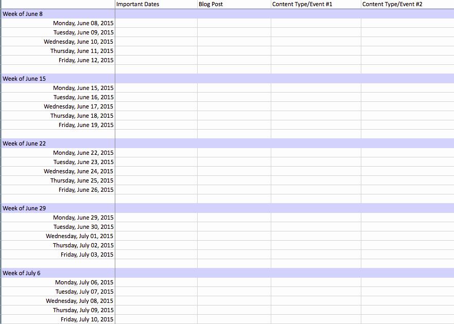 Marketing Calendar Template Excel 2015 Fresh Editorial Content Calendar