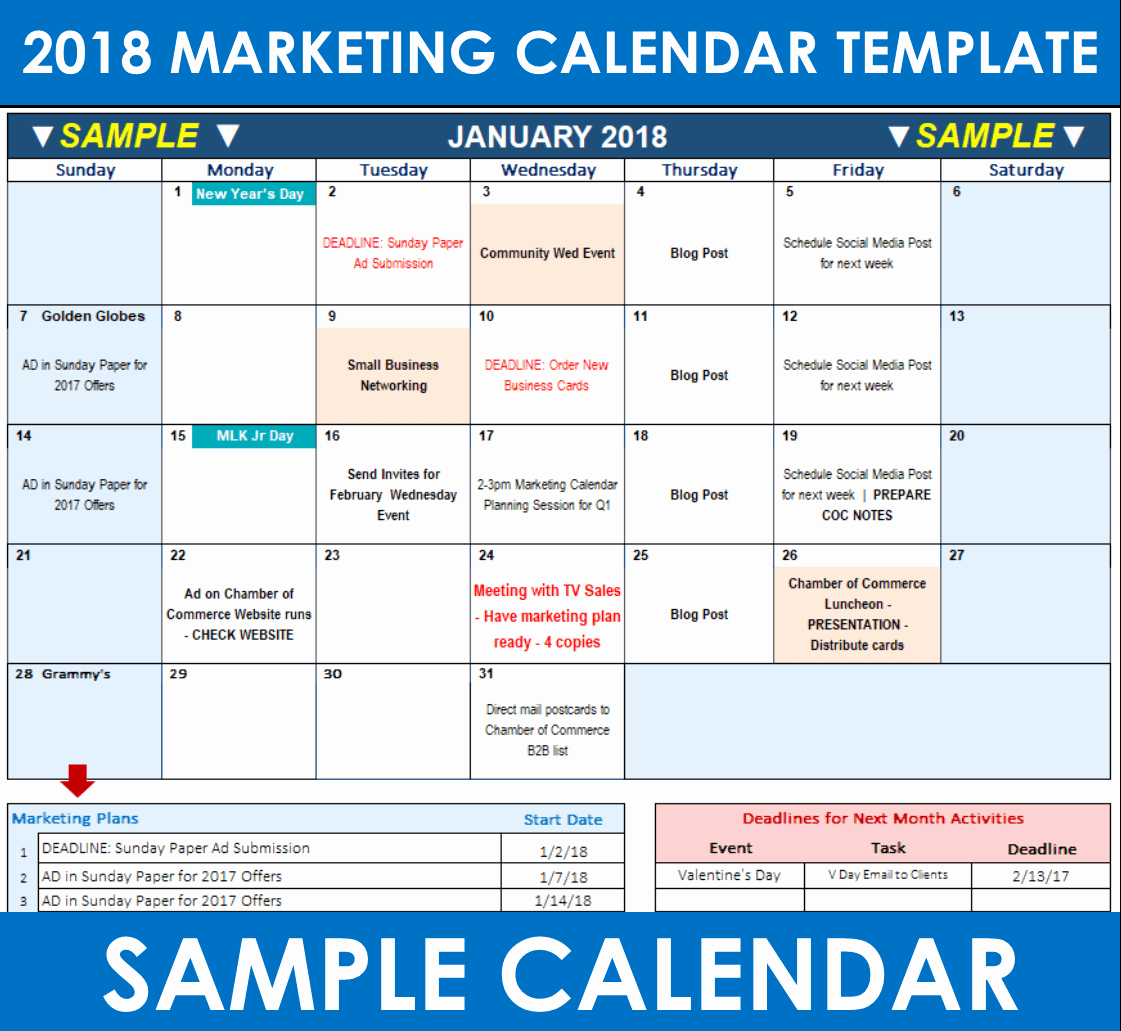 Marketing Calendar Template Excel 2015 Inspirational Promotional Calendar Template Excel Gecce Tackletarts