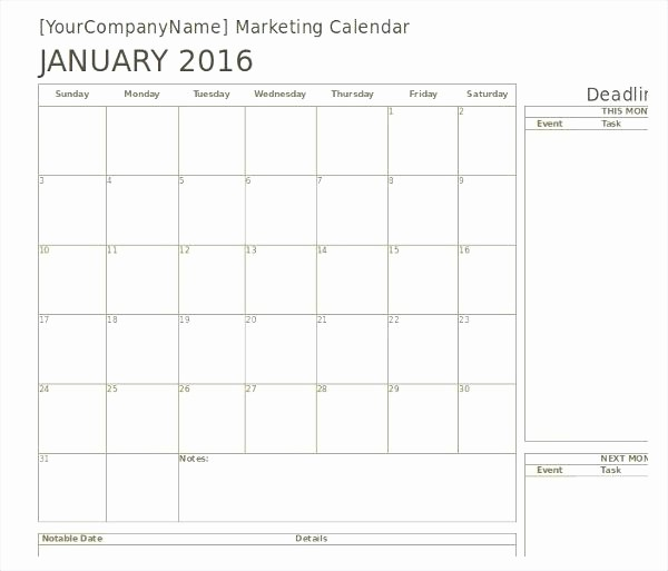 Marketing Calendar Template Excel 2015 Lovely Marketing Calendar Template Excel Email Tracking