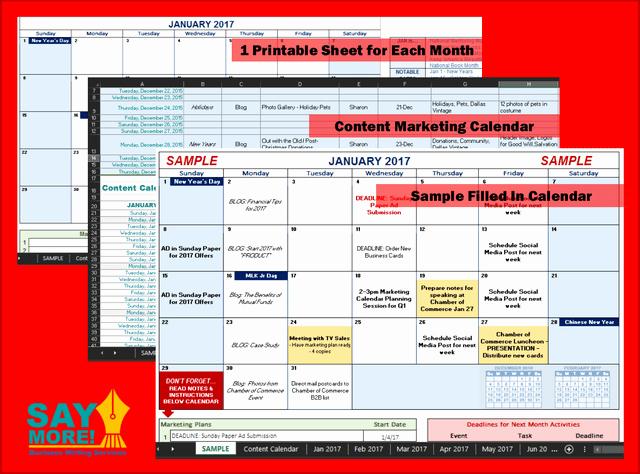 Marketing Calendar Template Excel 2015 New Marketing Calendar Template