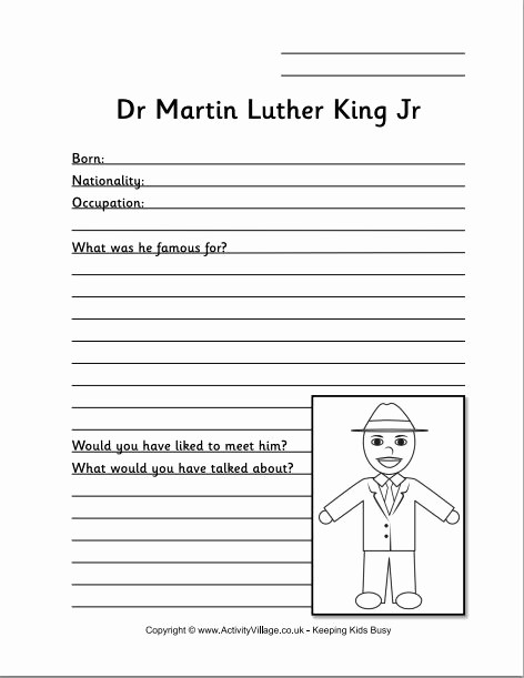 Martin Luther King Jr Template Awesome Famous People Notebooking Pages