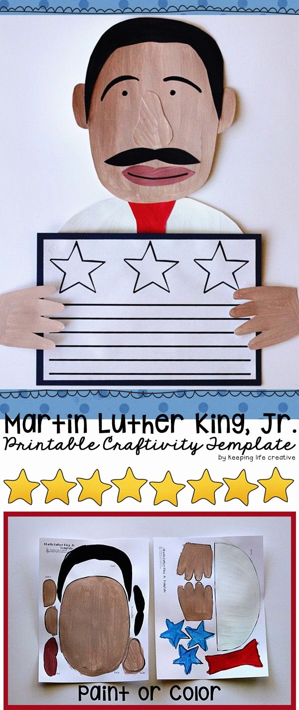 Martin Luther King Jr Template Inspirational Craft Templates