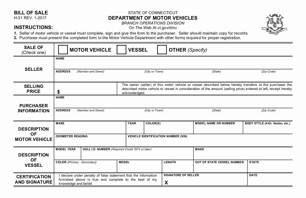 Massachusetts Vehicle Bill Of Sale Awesome Free Connecticut Bill Of Sale form Pdf Template