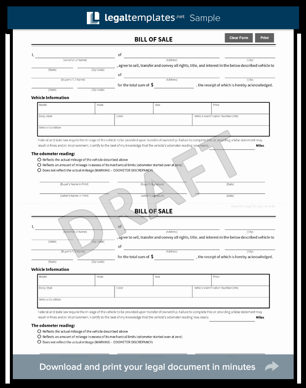 Massachusetts Vehicle Bill Of Sale Fresh Free Bill Of Sale forms Pdf & Word Templates