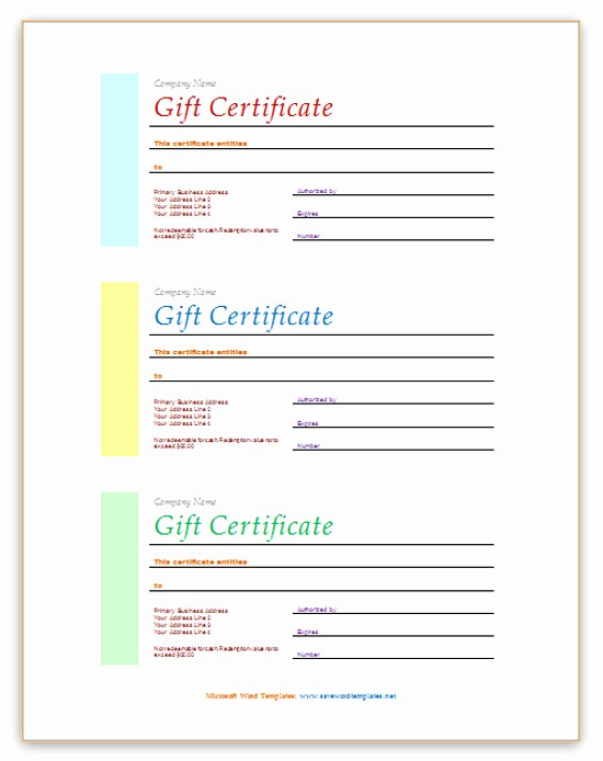 Massage Gift Certificate Template Word Fresh 550px