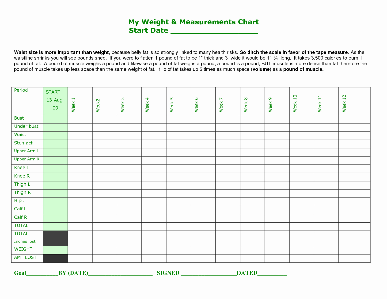 Measurement Chart for Weight Loss Awesome Printable Body Measurement Chart Weight Loss