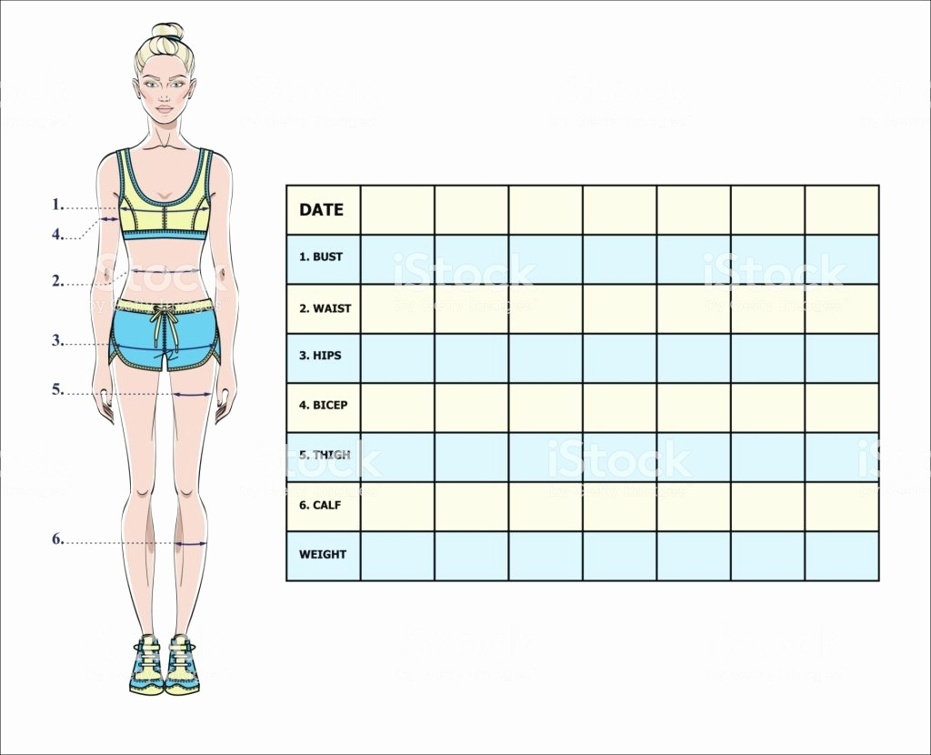 Measurement Chart for Weight Loss Elegant Measurement Chart Body Parameters for Sport and Diet