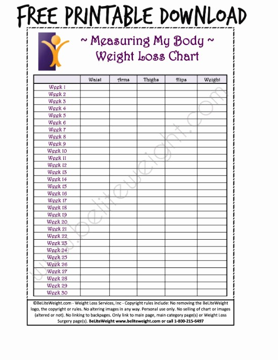 Measurements Chart for Weight Loss Best Of Keeping Track Your Weight Loss Tips & Free Printable