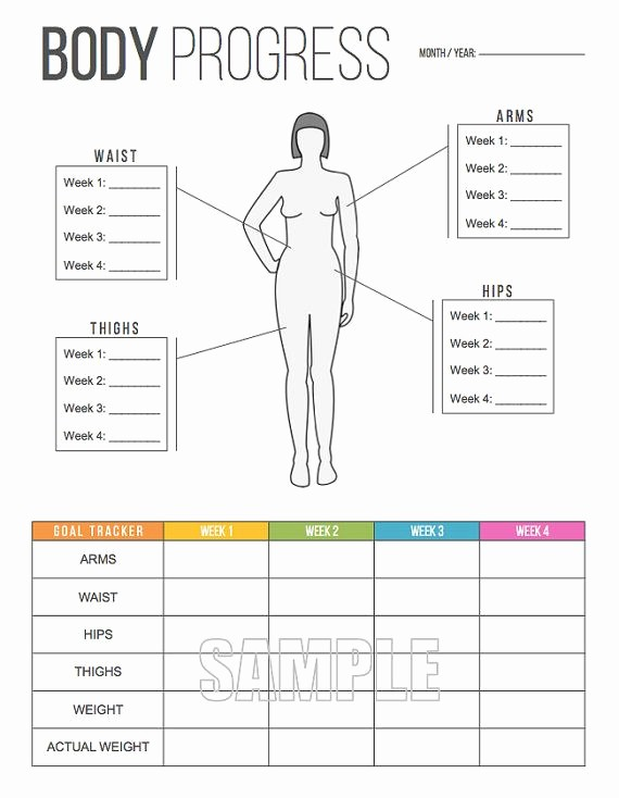 Measurements Chart for Weight Loss Fresh Body Progress Tracker Printable Body Measurements