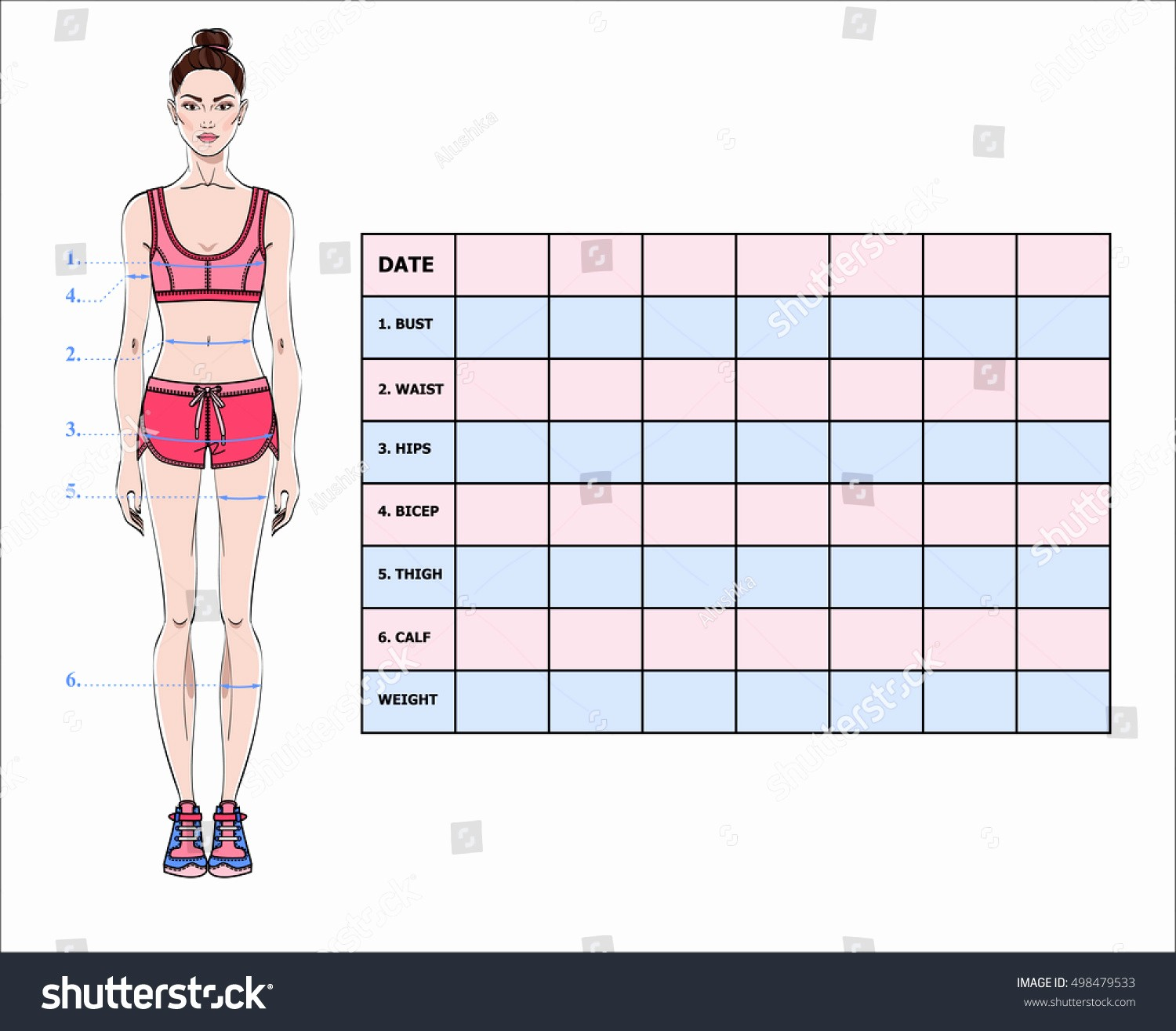 Measurements Chart for Weight Loss Luxury Measurement Chart Body Parameters Sport Diet Stock Vector