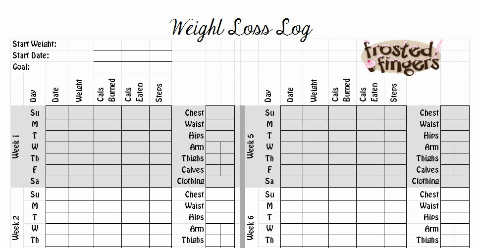 Measurements for Weight Loss Chart Lovely 7 Best Of Blank Weight Loss Tracking Chart Blank