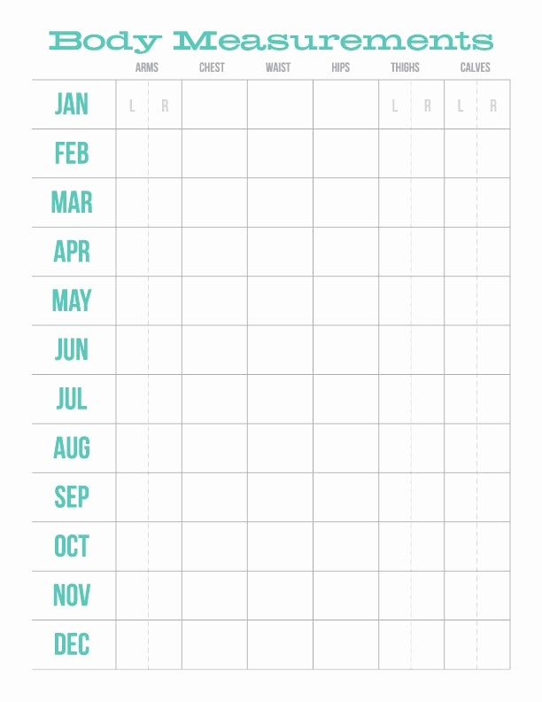 Measurements for Weight Loss Chart New Monthly Body Measurements Chart