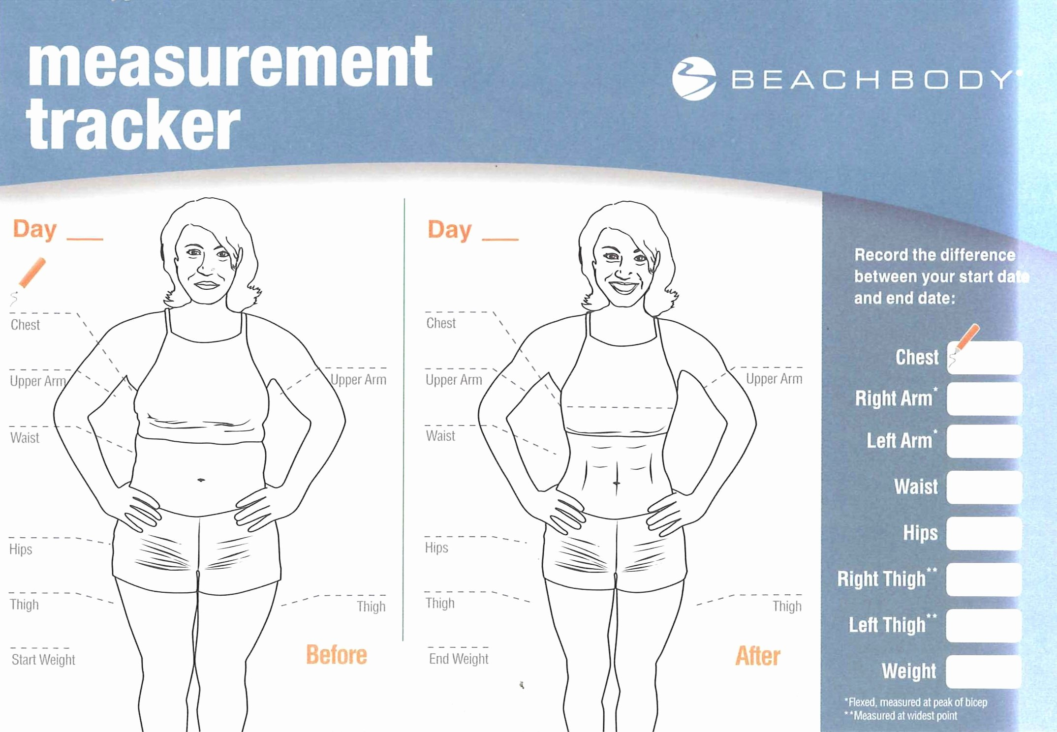 Measurements for Weight Loss Chart New Women S Body Measurement Chart