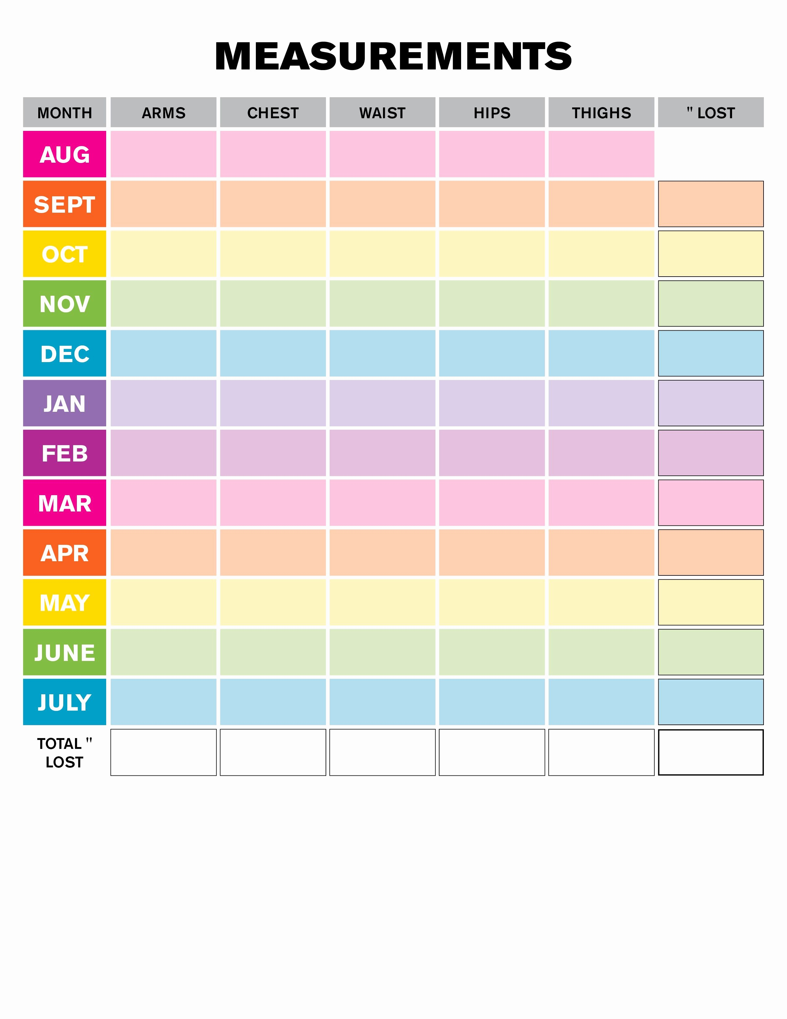 Measuring Chart for Weight Loss Awesome Weight Loss Monthly Measurement Chart Printables