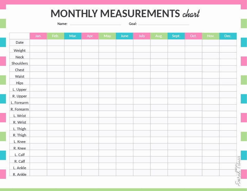 Measuring Chart for Weight Loss Beautiful Medical Binder My Measurements Chart Sarah Titus