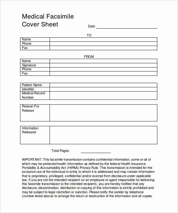 Medical Fax Cover Sheet Template Unique 7 Medical Fax Cover Sheet Templates Pdf Word