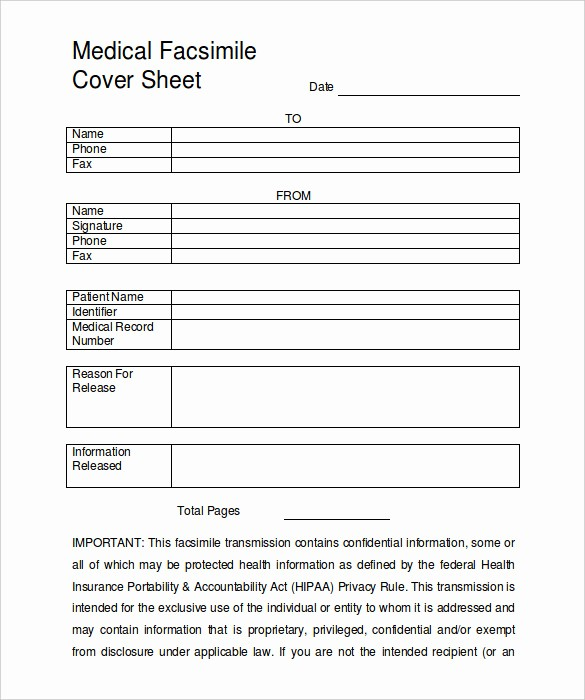 Medical Fax Cover Sheet Template Unique 9 Fax Cover Sheet Templates – Free Sample Example