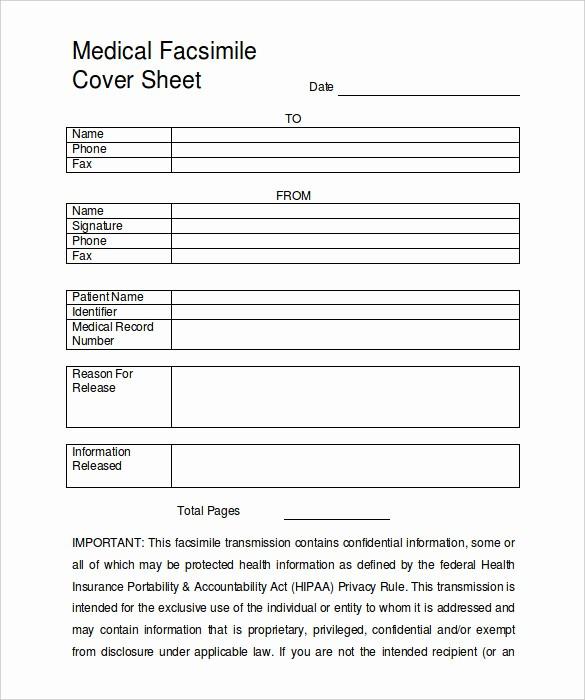Medical Fax Cover Sheet Template Unique 9 Fax Cover Sheet Templates – Free Sample Example