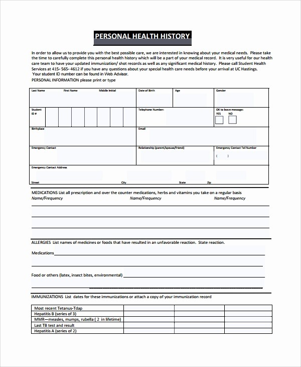 Medical History form Template Pdf Beautiful 10 Health History Templates