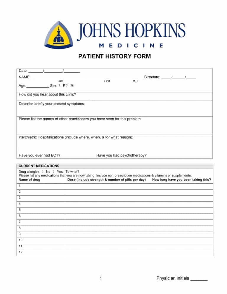 Medical History form Template Pdf Best Of 67 Medical History forms [word Pdf] Printable Templates