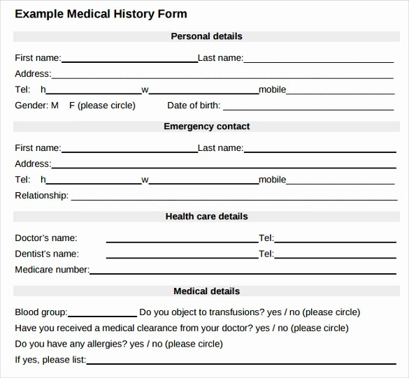 Medical History form Template Pdf Luxury 8 Medical History forms