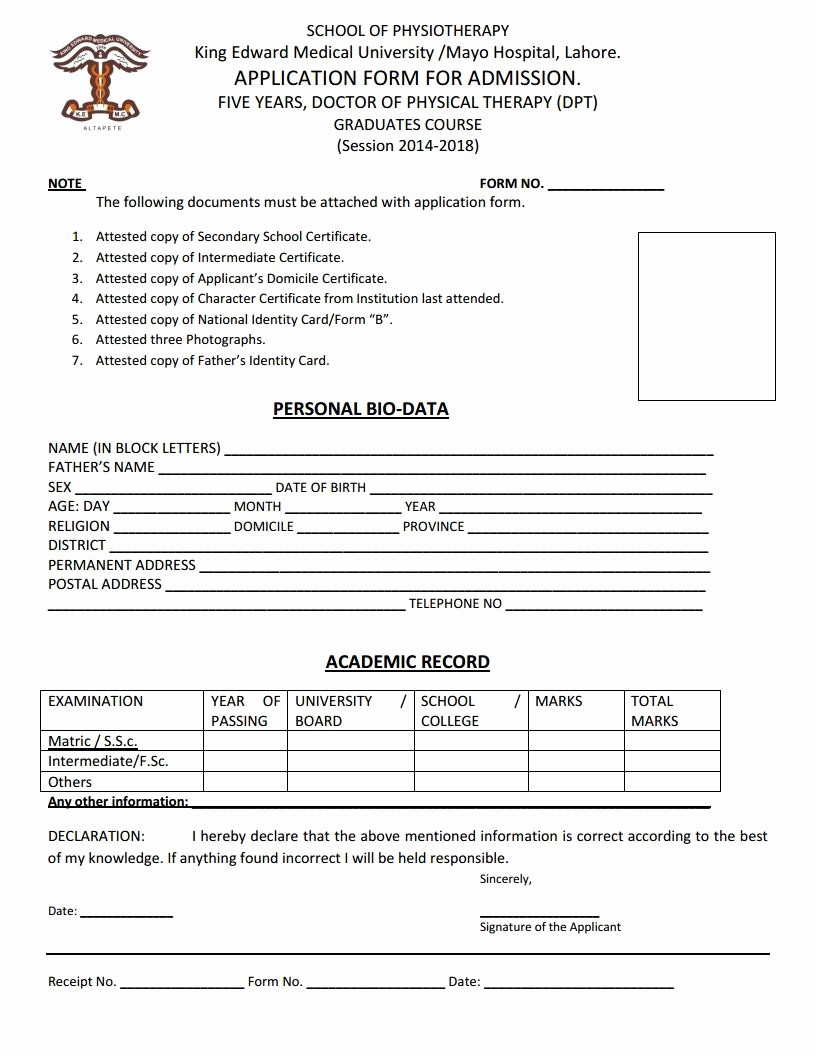 Medical Physical form for Employment Awesome King Edward Medical University Application form for Doctor
