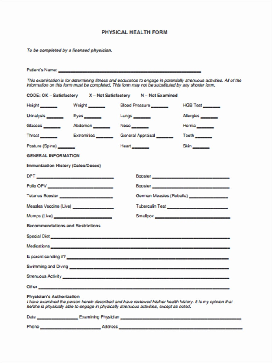 Medical Physical form for Employment Inspirational 5 Physical Health form Sample Free Sample Example