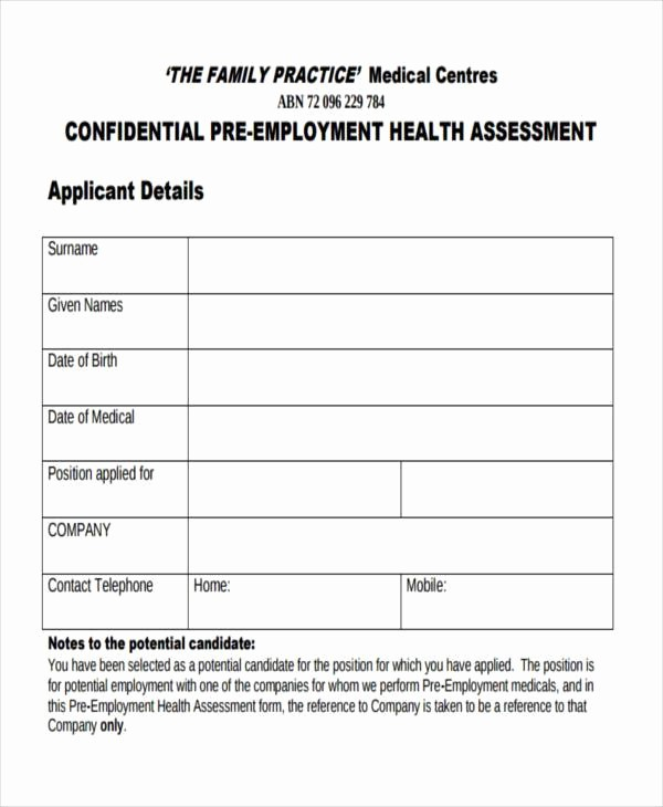 Medical Physical form for Employment Inspirational Free Employment form Samples 35 Free Documents In Word Pdf