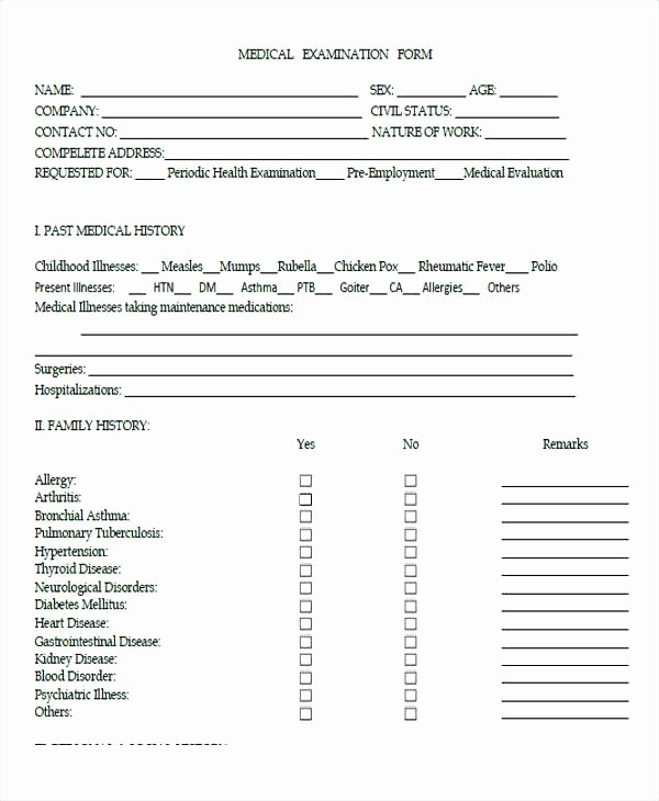 Medical Physical form for Employment Lovely Family Medical History forms Templates Material Values In