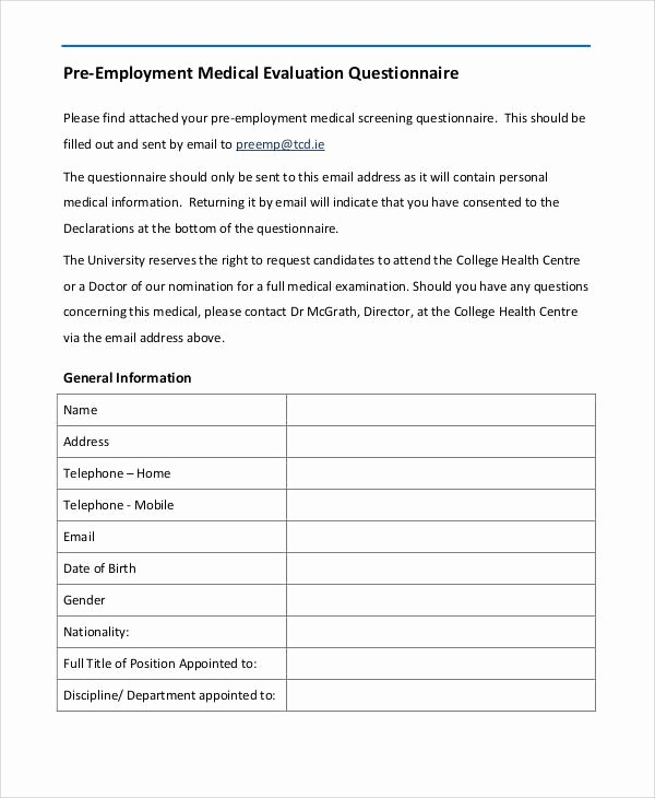 Medical Physical form for Employment Unique Pre Employment Medical form Template – Medical form Templates