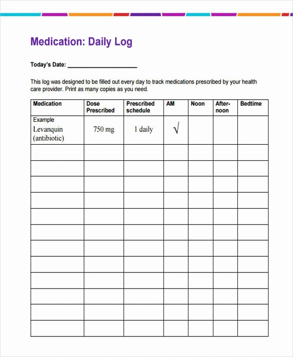 Medication Chart Template Free Download Best Of 35 Daily Log Samples & Templates
