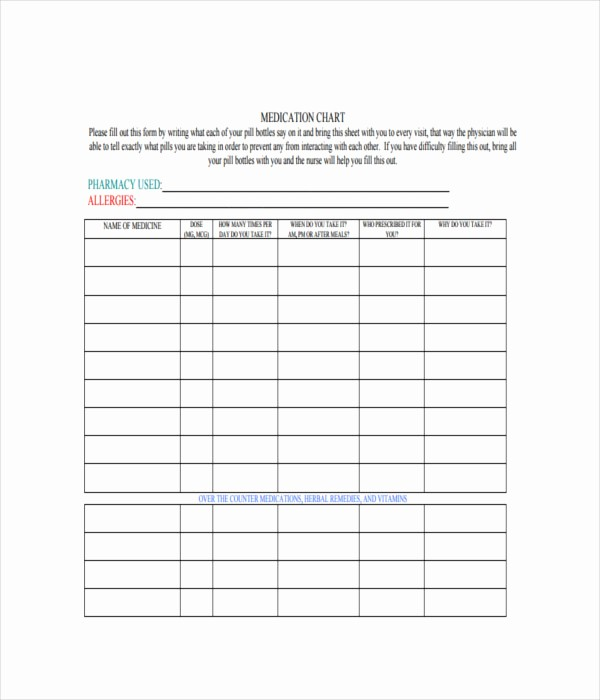 Medication Chart Template Free Download Elegant 19 Chart Templates Free Word Pdf Documents Download
