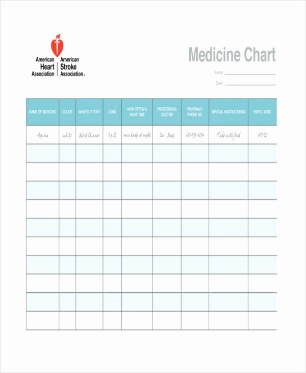 Medication Chart Template Free Download Elegant 41 Simple Chart Templates