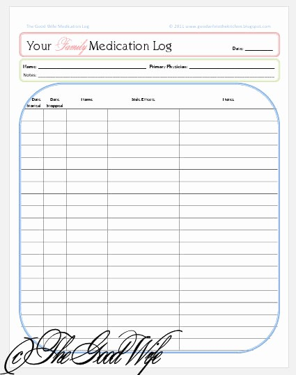 Medication Log Sheet for Patients Elegant Daily Medication Log