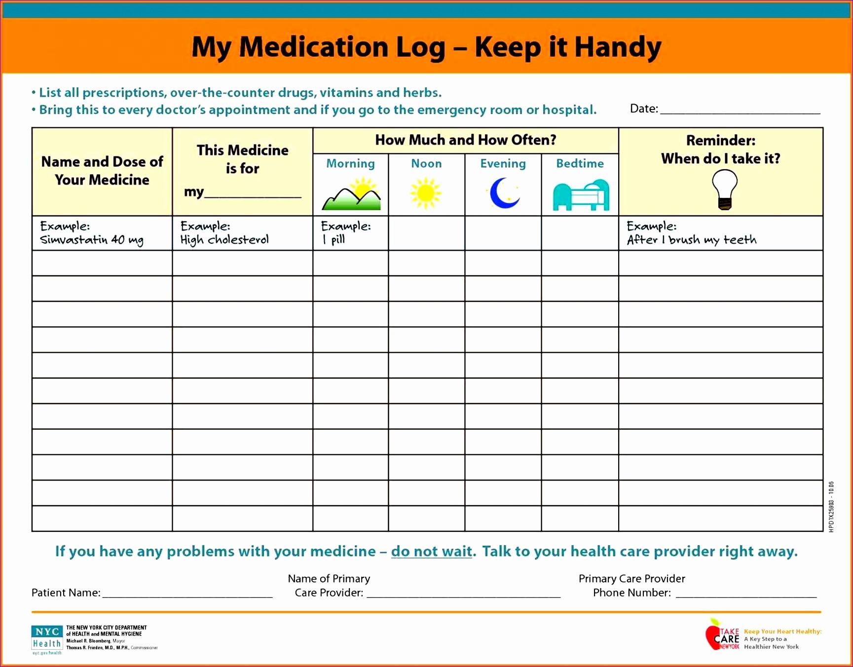Medication Log Sheet for Patients Fresh 10 Ms Excel Patient Medication Log Template