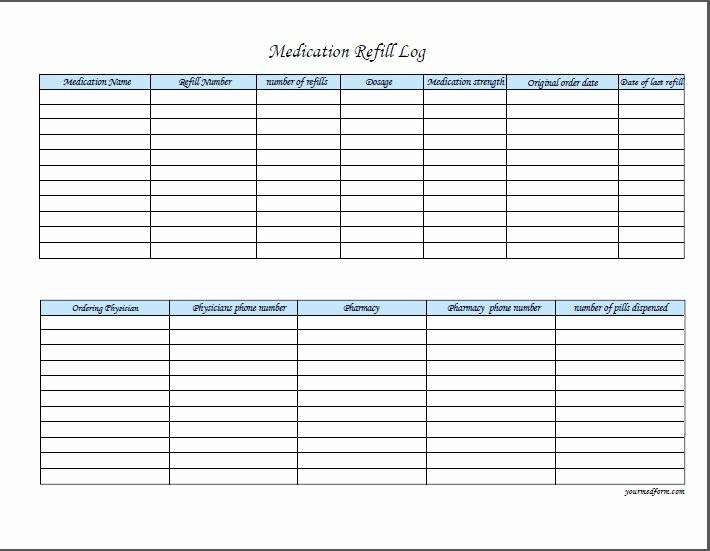 Medication Log Sheet for Patients Fresh Medication Refill Log Prescription Log Medication Log