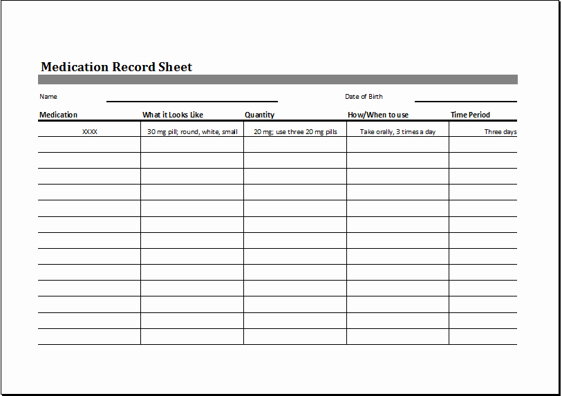 Medication Log Sheet for Patients Lovely Medication Record Sheet Editable Printable Excel Template