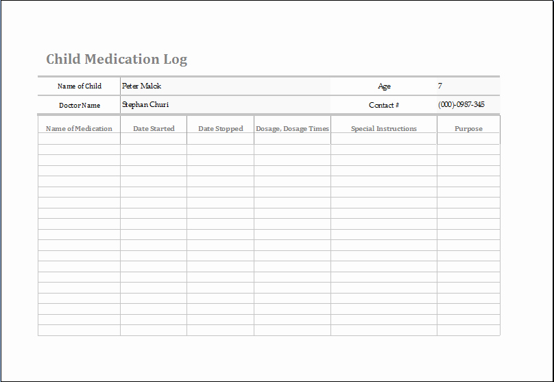 Medication Log Sheet for Patients Luxury Ms Excel Child Medication Log Template
