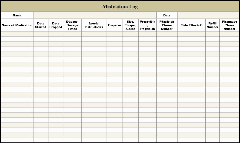 Medication Log Sheet for Patients Luxury Printable Daily Medication Log Template